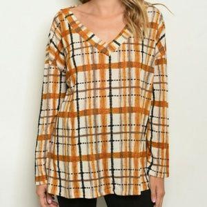 Tops - Mustard Orange Caramel Plaid Top Shirt